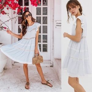 Free People Kitty Crochet Knit Floral Print Dress